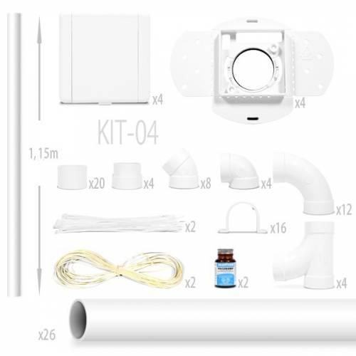 kit aspiration centralisée nadair Kit 4 Prises Européennes + 26 x 1.15m tube