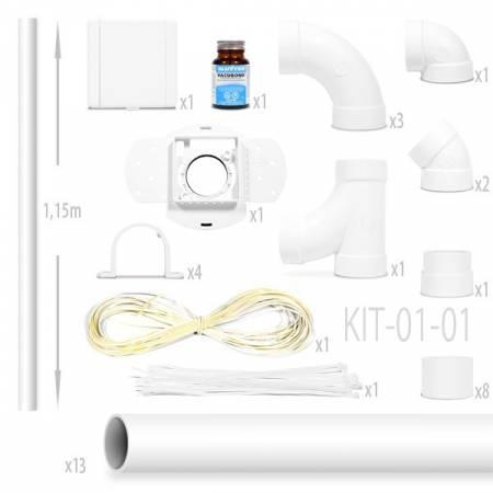 kit aspiration centralisée nadair Kit 1 Prise Européenne + 13 x1.15m tube