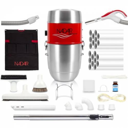 Pack complet aspiration centralisé NADAIR 600 22L avec flexible ON/OFF, brosses, accessoires et réseau de canalisation.