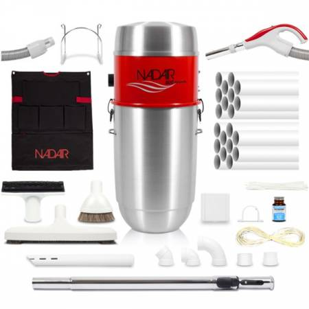Pack complet aspiration centralisé NADAIR 600 32L avec flexible ON/OFF, brosses, accessoires et réseau de canalisation.