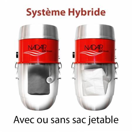 Système hybride, aspirateur centralisé NADAIR 600 22L avec ou sans sac jetable