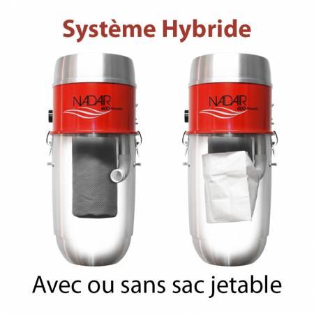 Système hybride, aspirateur centralisé NADAIR 600 32L avec ou sans sac jetable