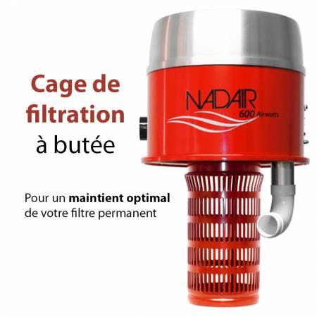 Aspirateur centralisé avec cage de filtration a butée