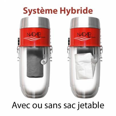 Système hybride, aspirateur centralisé NADAIR 700 32L avec ou sans sac jetable
