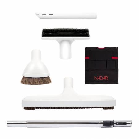 Ensemble de 4 brosses, canne télescopique et support accessoires