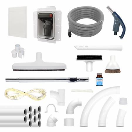 Pack pour aspirateur centralisé RETRAFLEX complet avec réseau de canalisation, flexible et accessoires