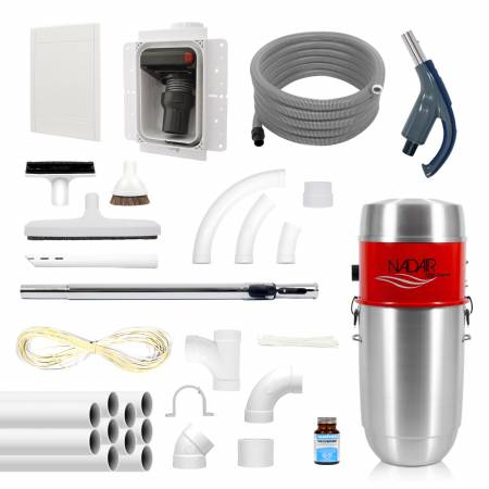 Pack RETRAFLEX complet avec aspirateur centralisé, accessoires, et réseau de canalisation.